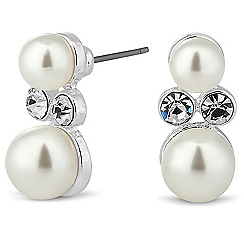 Jon Richard - Crystal encased double pearl stud earring