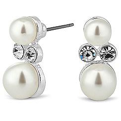 Jon Richard - Crystal encased double pearl stud earring