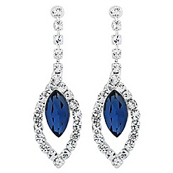 Jon Richard - Blue navette diamante crystal drop earring