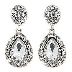 Jon Richard - Oval top silver peardrop surround earring