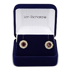 Jon Richard - Clara red cubic zirconia round stud earring