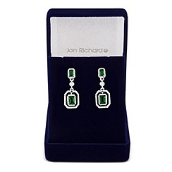 Jon Richard - Green cubic zirconia baguette surround drop earring