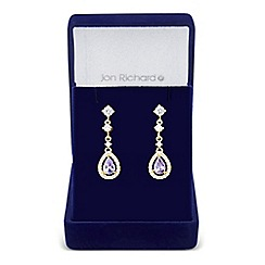 Jon Richard - Purple cubic zirconia peardrop earring