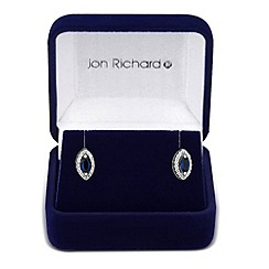 Jon Richard - Blue cubic zirconia navette stud earring