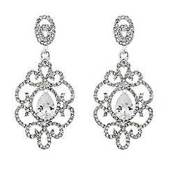 Jon Richard - Cubic zirconia teardrop ornate surround earring