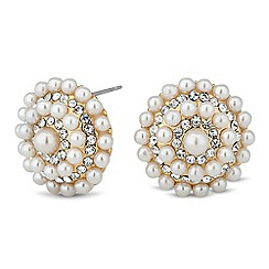 Jon Richard - Pearl and crystal cluster round stud earring