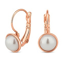 Jon Richard - Pearl encased rose gold hoop drop earring
