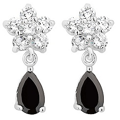 Jon Richard - Crystal flower and jet cubic zirconia drop earring