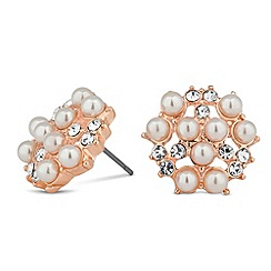 Jon Richard - Pearl and crystal cluster rose gold earring