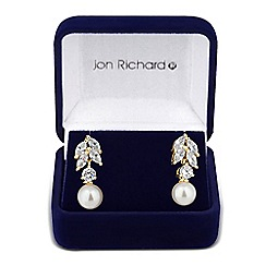 Jon Richard - Cubic zirconia navette and pearl drop earring