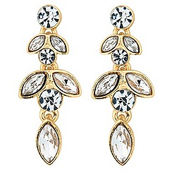 Jon Richard - Round and navette crystal gold drop earring