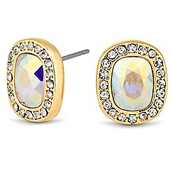 Jon Richard - Aurora borealis rectangular gold stud earring MADE WITH SWAROVSKI ELEMENTS