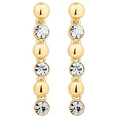 Jon Richard - Round crystal and gold ball drop earring