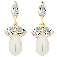 Alan Hannah Devoted - Designer triple cubic zirconia pearl drop earring