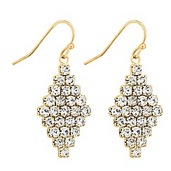 Jon Richard - Diamante crystal gold clover drop earring