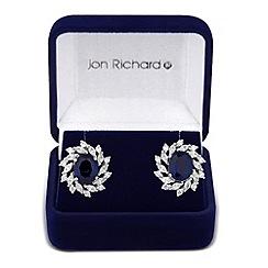 Jon Richard - Blue oval cubic zirconia cluster stud earring