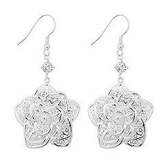 Jon Richard - Silver filigree flower drop earring