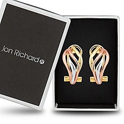 Jon Richard - Triple tone twist hoop earring