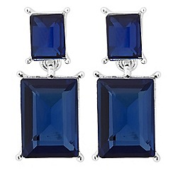 Jon Richard - Blue baguette stone drop earring