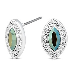 Jon Richard - Iridescent green crystal navette stud earring MADE WITH SWAROVSKI ELEMENTS