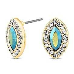 Jon Richard - Iridescent green crystal navette gold stud earring MADE WITH SWAROVSKI ELEMENTS
