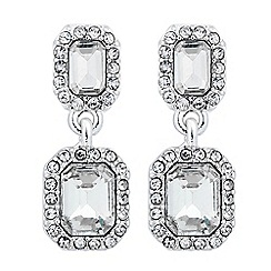 Jon Richard - Crystal baguette double drop earring