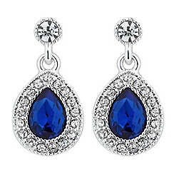Alan Hannah Devoted - Designer blue crystal surround peardrop earring