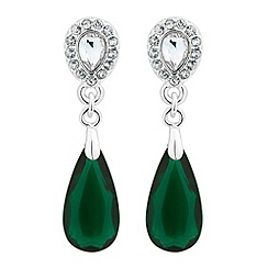 Jon Richard - Crystal top and green teardrop earring