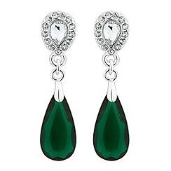 Jon Richard - Crystal top and green teardrop earring