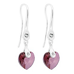 Jon Richard - Lilac shadow crystal heart earring MADE WITH SWAROVSKI ELEMENTS