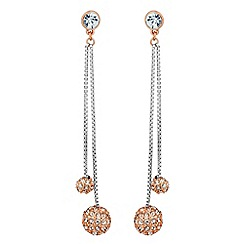 Jon Richard - Rose gold crystal ball double drop earring