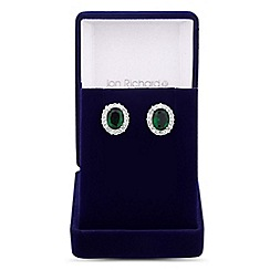 Jon Richard - Oval green cubic zirconia surround stud earring