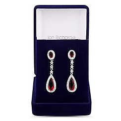 Jon Richard - Red cubic zirconia oval and teardrop earring