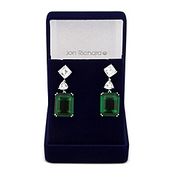 Jon Richard - Green cubic zirconia square drop earring