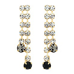 Jon Richard - Jet and grey diamante crystal drop earring