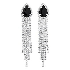 Jon Richard - Jet peardrop and diamante tassel earring