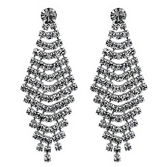 Jon Richard - Grey crystal chandelier drop earring