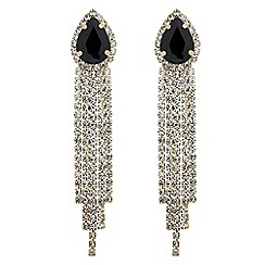 Jon Richard - Jet teardrop and diamante tassel earring