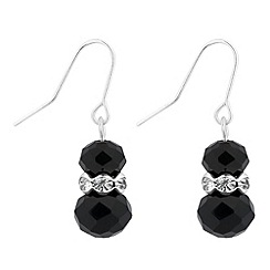 Jon Richard - Jet bead and crystal rondel drop earring