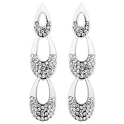 Jon Richard - Crystal encased triple polished drop earring