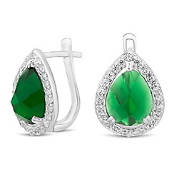 Jon Richard - Green cubic zirconia teardrop stud earring