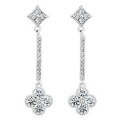 Jon Richard - Crystal embellished clover stick drop earring