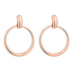 Jon Richard - Polished rose gold drop hoop earring