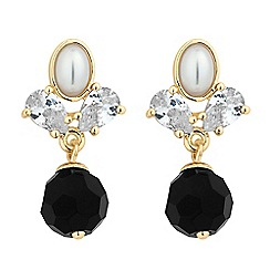 Jon Richard - Jet pearl and crystal leaf drop earring