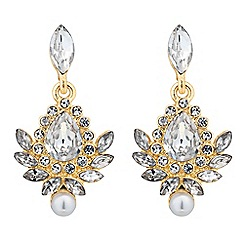 Jon Richard - Vintage style crystal leaf pearl drop earring