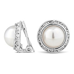 Jon Richard - Pearl and crystal surround clip on earring