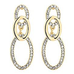 Jon Richard - Polished and crystal triple oval hoop drop earring