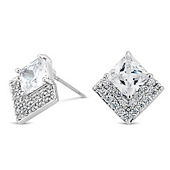 Jon Richard - Cubic zirconia crystal embellished square stud earring