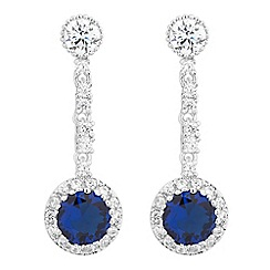 Jon Richard - Round blue cubic zirconia stick drop earring