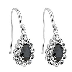 Jon Richard - Jet peardrop crystal surround earring